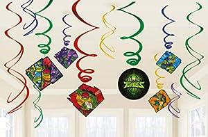 Amscan International Amscan 672209 - Lámina decorativa (12 unidades), diseño de tortugas ninja