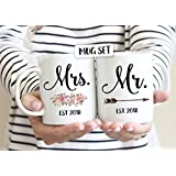 Mr./Mrs. Couple Engagement Mug - Set Of 2 Mugs- Perfect Gift For Husband And Wife Anniversary - Boyfriend & Girlfriend - Birthday - Wedding - Mugs For Couples Valentines Day From Devron