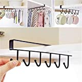 #8: 6 Hooks Under Shelf Cup Holder by House of Quirk Mutifunctional Kitchen Utensil Rack for Hanging