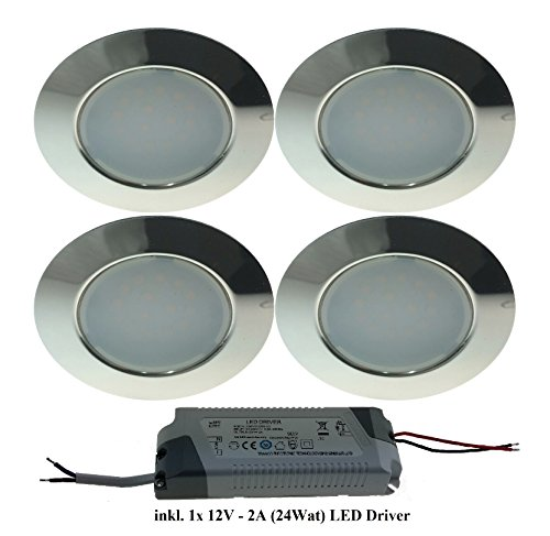 Trango TGG4E-04xT - Set di 4 faretti LED da incasso, incl. 1 trasformatore LED Trafo (12 V - 2000 mAh) per sostituire le tradizionali luci per mobili G4 da cucina, camere da letto, ecc., effetto acciaio inox - Chrom Inkl. 1x 12v Led Trafo