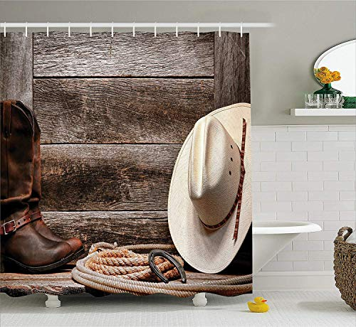Western Decor Shower Curtain by, Americana Rodeo Fashion White Straw Hat Original Lariat Lasso and on Barn, Fabric Bathroom Decor Set with Hooks, 60 x 72 Inches, Tortilla Brown - Italien Duschvorhang