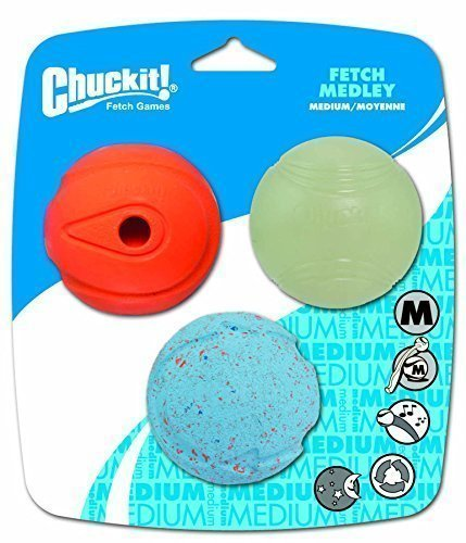 Chuckit! Medium Fetch Medley Balls 2.5-Inch, 3-Pack by Canine Hardware -