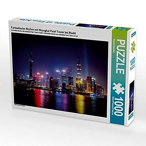 Fantastische Skyline mit Shanghai Pearl Tower bei Nacht 1000 Teile