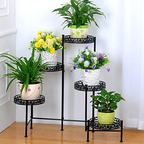 plantes en pot à l'extérieur Porte-grille en fer, 5e rangée d'étagères, étagère Bonsai Home Jardin Décor de patio étagères Blanc / Noir / Or ( Couleur : Noir , taille : 116*68CM )
