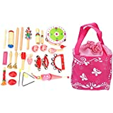 Dilwe 22 Pcs Musical Instruments Educational Toy Set With Carrying Bag For Kids Children Gift(Pink)