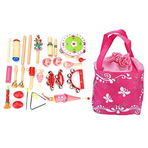 Dilwe Kinder Musikinstrumente Set, 22 PC Kinder Schlagzeug Schlagwerk Rhythmus Spielzeuge mit Triangel Trompete mit EIN Beutel leicht zum Aufbewahrung Gute Geburtstag Geschenke(Rosa)
