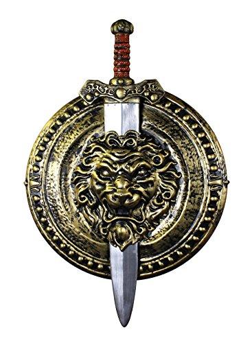 ILOVEFANCYDRESS SUPER Schild UND Schwert FÜR EINE Gladiator & GRIECHEN VERKLEIDUNG Schild HAT EINEN Durchmesser VON UNGEFÄHR 49cm UND DAS Schwert IST UNGRFÄHR 74cm LANG=GOLDENES ARMSCHILD MIT Schwert
