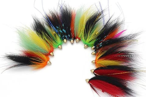 Tigofly Cône Tête Tube Fly Lot de saumon truite mouches Lot de 12 Pcs-fly Pêche mouches