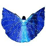 Chejarity Isis Flügel Bauchtanz LED Flügel Wings Erwachsenen Bühnen Performance Kleidung Halloween Karneval Cosplay Party Fasching Kostüme mit Teleskopstöcke Tanzen Requisiten (One Size, Blau)
