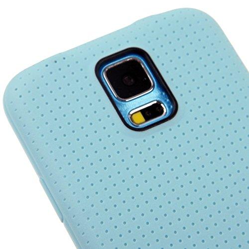 wkae Schutzhülle Fall & offizielle Design TPU mit Leder Trim Fall für Samsung Galaxy S5/G900 blau