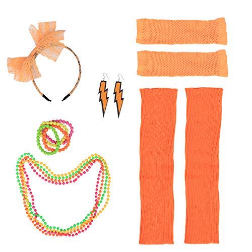 (Toyvian 1980er Jahre Womens Fancy Outfit Party Kostüm Zubehör Set für Mädchen Frauen Night Out Party (Orange))