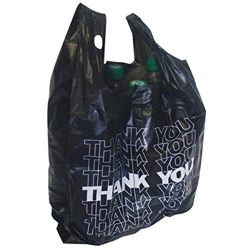 50x Tragetüte schwarz Hemdchentragetasche Tragetasche Plastiktüte THANK YOU 54x28+12cm 24my 15l