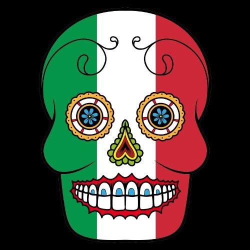 T-Shirt - Italien - Sugar Skull - Fahne - Herren - unisex Schwarz