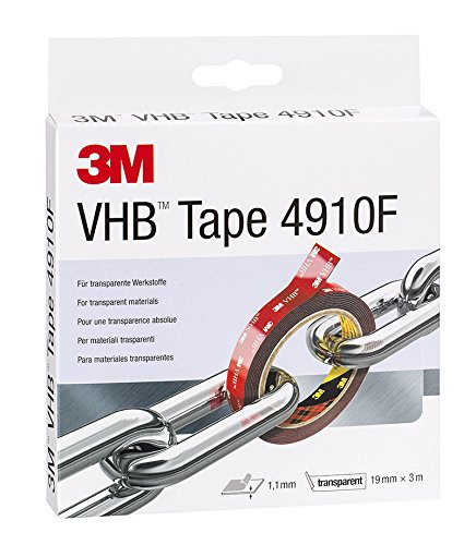 3M 4910F19 VHB Ruban Adhésif, 19 mm x 3 m, 1 mm, Transparent (Lot de 1)