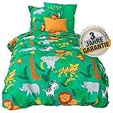 Aminata Kids Kinderbettwäsche Safari, Dschungel, Kinder, Jungen, Mädchen, Baby Bettwäsche-Set 100 x 135 cm - Wilde-Tiere in Baumwolle, grün, bunt - weich & kuschelig mit Reißverschluss
