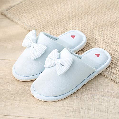 Wtfysyn pantofole diabetiche larghe da donna, pantofole in cotone con fiocco da donna, scarpe calde antiscivolo per interni da casa @ azzurro_37-38