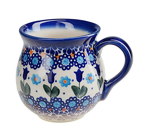 BCV Classic Boleslawiec, Polish Pottery Hand Painted Ceramic Mug, Barrel (250, U-006)