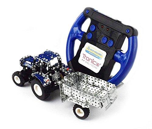 RC Traktor kaufen Traktor Bild 1: Tronico 09561 - Metallbaukasten Traktor New Holland T5-115 mit Kippanhänger und Fernsteuerung, Maßstab 1:64, Micro Serie, blau, 454 Teile*