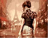 OBELLA Malen nach Zahlen Kits || Eiffel Tower, Sexy Woman Back Eiffel turm, Sexy Frau Zurück 50 x 40 cm || Malen nach Zahlen, DIGITAL Ölgemälde (Mit Rahmen)