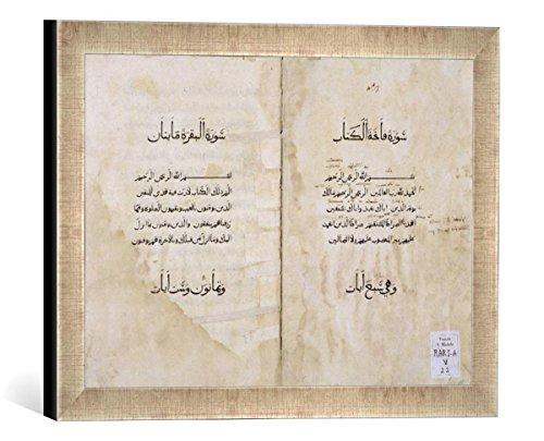 """Gerahmtes Bild von P. & Baganini & A.Koran printed in Arabic, 1537"""", Kunstdruck im hochwertigen handgefertigten Bilder-Rahmen, 40x30 cm, Silber raya"""