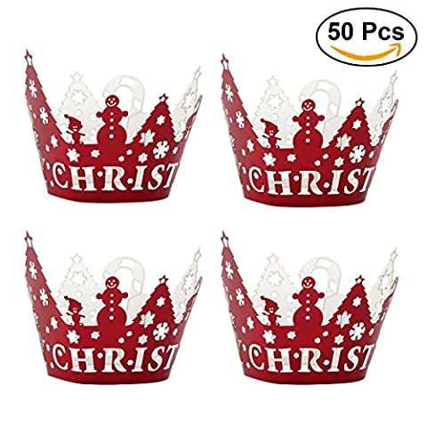 ULTNICE Christmas Cupcake Liner Cupcake Wraps Cupcake Holders Wedding Birthday Party Decoration 50pcs (Rouge)