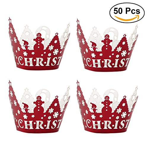 ultnice Christmas Cupcake Liners Cupcake Wraps Cupcake Holders Wedding Birthday Party Decoration 50pcs (Red)