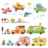 Decowall DAT-1806P1506B Transporte Autos Doppeldecker Tiere Wandtattoo Wandsticker Wandaufkleber Wanddeko für Wohnzimmer Schlafzimmer Kinderzimmer