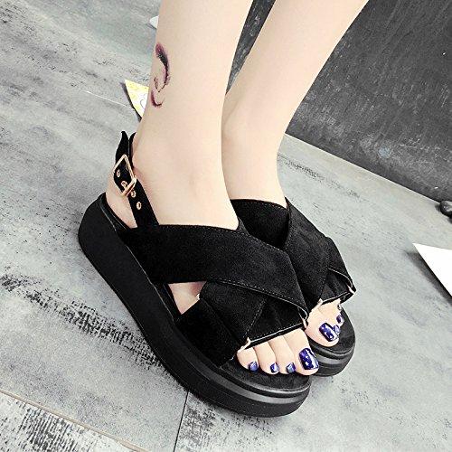 XY&GKDonna Sandali sandali estivi femmina di fondo spesso Cross Platform studente scarpe per il tempo libero, 38,grigio con il migliore servizio 35 black