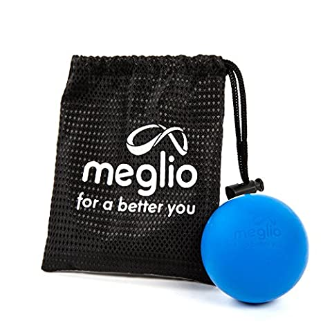 Meglio Lacrosse Massage Ball – For Self Targeting Myofascial Release – Reach Deep Tissue with Trigger Point Massage – Carry Bag Included (Blue)
