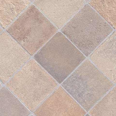Cottage Stone Beige Grey Tile Vinyl Flooring, 2.6mm Thick, 3m Wide 4m Long