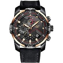 e966dd331af4 LIGE Relojes para Hombre Militar Impermeable Deporte Cuarzo Analógico Reloj  Gents Cronógrafo Fecha Calendario Cuero Negro