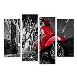 islandburner, Quadro Moderno Uno Scooter Rosso Vespa parcheggiato su Una Strada asfaltata Stampa su Tela - Quadri Moderni x poltrone Salotto Cucina mobili Ufficio casa TIK