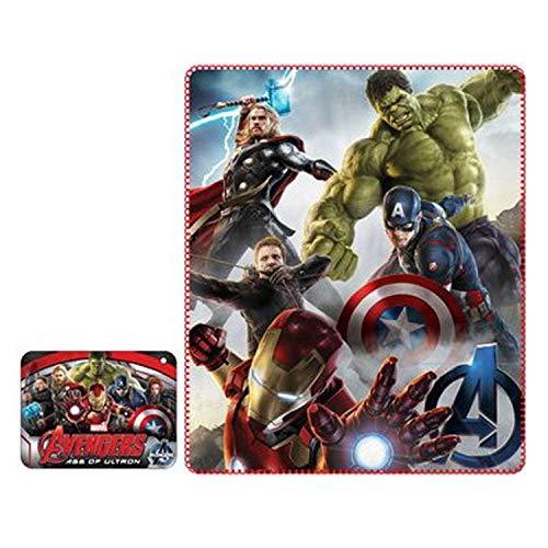Kinder-Fleece-Decke aus Fleece mit Avengers-Aufdruck Hulk Iron Man Thor Capitan America aus 120 x 140 cm 100% Polyester. Originelles und sicheres Plaid mit Marvel-Lizenz. Amerika Polyester-fleece