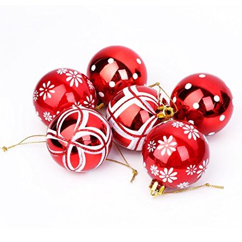Uncles 6pcs set di palle di Natale, 6cm, glitter Metallic party festival di Natale, compleanno, infrangibili, decorazione da appendere, decorazione per la casa casa appartamento dormitorio a soffitto, rosso