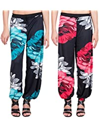 Adonia Women's Poly-Knit Lycra Printed Harem Pants ( Combo Of 2 ) - B0751GHWH2