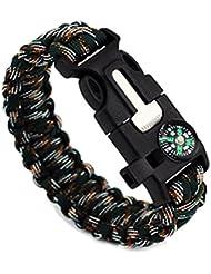 Hoomall Bracelet de Survie Paracord avec Boussole Whistle Allume-feu pour le Randonnée Canotage Chasse 26cm Vert Fonce
