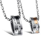 Jewow Schmuck Edelstahl Verliebte Paar Halskette Oval Anhänger mit Gravur für Sie und Ihn