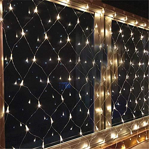 Fairy Light Weihnachten Vorhang Netting Led Batterie Fenster String, Weihnachten Hochzeitsdekoration, Warmweiß, 6 * 4m ()