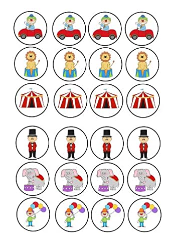 24 circus clown tent themed Cake Toppers 4cm On Icing