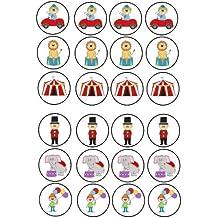 24 adornos para tartas 4 cm Diseño de carpa de circo payaso ...