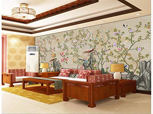 Nevso 3D Tapete Wandmalerei Fresko Wandaufkleber Home Decoration Handbemalte Blume Vogel 3D Wandbilder Tapeten Für Wohnzimmer Foto Wandbilder Tapeten300cmX210cm