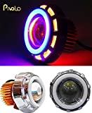 #6: Pivalo Projector Lamp High Intensity LED Headlight Stylish Dual Ring COB LED Inside Double Angel's eye Ring ( Red & Blue) Lens Projector For - All Bikes