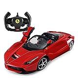 AIOJY Voitures télécommandées for Enfants ouvrant Les Feux 1/14 Ferrari spécial Un Jouet Rouge Voiture décapotable Ouverture/Fermeture Automatique Licence Officielle 2 Roues motrices dérive Radio co