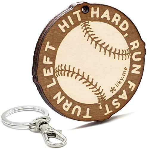 LIKY Baseball - Schlüsselanhänger aus Holz graviert für Damen und Herren Fans von Sport Anhänger Glücksbringer Schmuck für Taschen und Rucksäcke Geschenk zum Geburtstag