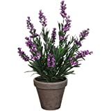 Planta artificial de diseño de flores de lavanda, colour morado, con diseño de maceta de terracota-de coloures, con altura de 33 cm