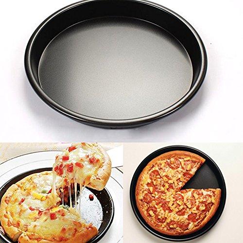 Yunhigh aluminium pizza backen pan nonstick runde pizza serving tray ofen schale pizza platten bbq braten zinn küche kochen bakeware werkzeug schwarz (Aluminium-non Pan Stick)