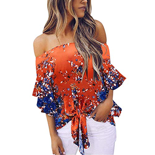 Subfamily Frauen Kalt Schulter Bluse Floral Knot Tie Front Chiffon Hemd Flare Sleeve Tops -