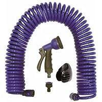 S&M 548581 - Manguera helicoidal eva 15 m, con pistola 8 funciones, color azul