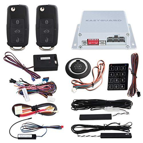 EasyGuard PKE Auto Alarm System mit Fernbedienung Start Starter Push Start Stop button Touch Passwort Eintrag ungeschliffen Schlüssel Klinge FSK Technologie Code Rolling ec002-v-ns …
