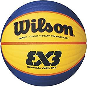 Wilson Indoor Basketball, Competition 3vs3, FIBA Certified, Sports Flooring, Granular, PVC or Linoleum Floors, Size 6, For ages 8-12, FIBA 3X3 OFFICIAL GAME BALL, Orange, WTB0533XB